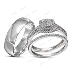Men's Band & Women's Bridal Ring His & Her Engagement & Wedding Trio Ring Set