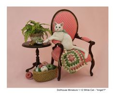 """Kerri Pajutee Miniature Animals ~ Cat """"Angel!?"""". This particular miniature Cat was sold on Ebay for 1,500+ Dollars!"""