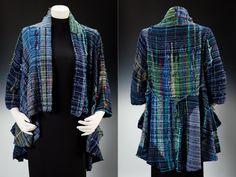 Koi pond Saori handwoven cotton jacket:wearable art