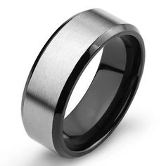 West Coast Jewelry Men's Two Tone Titanium Comfort Fit Wedding Band - 8mm Wide (Size -