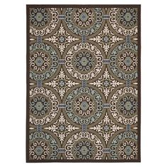 Loomed indoor/outdoor rug with a medallion-inspired motif. Made in Turkey.    Product: RugConstruction Material: