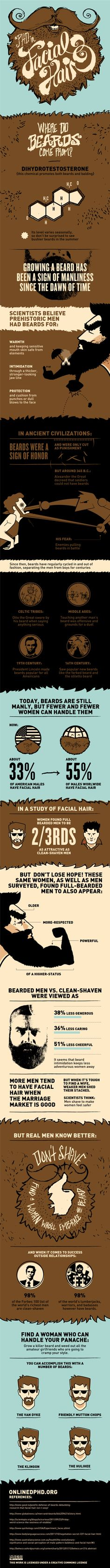 A PhD in Beards This infographic is all about facial hair. Learn about where facial hair comes from, what people think of you when you have facial hair, and also some random facts in the history of beards. I Love Beards, Beard Love, Awesome Beards, Crazy Beard, Man Beard, Full Beard, Clean Shaven, Beard No Mustache, Facial Hair