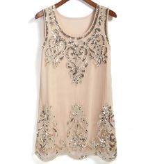 Round Neck With Sequined Tank Top (48.075 COP) ❤ liked on Polyvore featuring tops, apricot, sequin tank top, sequin tank, embellished tops, embellished tank and sequin vest top