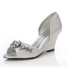 Women's+Dyeable+Wedding+Shoes+Spring+Summer+Comfort+Shoes+Silk+Wedding+Outdoor+Office+&+Career+Dress+Party+&+Evening+Wedge+HeelSparkling+–+CAD+$+70.20