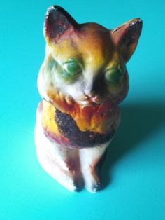 Beautiful vintage Painted Chalkware Kitty carnival prize  for sale at www.blacksheepantiquespa.com