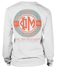 Monogram T-shirt in Coral and Teal.