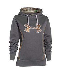 dd78c56532d UNDER ARMOUR Women s Storm1 Caliber Logo Hoodie Grey Camo REALTREE Size XL   Underarmour