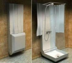 This fold-up shower is a fab idea! Also, check out the elevator beds! | Simple Home Ideas That Are Borderline Genius – 27 Pics