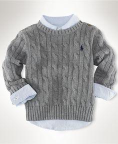 Ralph Lauren Baby Sweater, Baby Boys Classic Cable Crew Neck Sweater - Kids Baby Boy - Macy's
