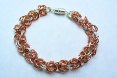 Byzantine Chain Bracelet - Early piece made with rings (copper and base metal) from Michael's. Chainmaille, Byzantine, Beaded Jewelry, Charmed, Beads, Metal, Bracelets, Chains, Rings