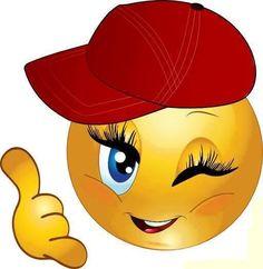 Girl smiley with ball cap Smiley Emoticon, Emoticon Faces, Love Smiley, Emoji Love, Emoji Images, Emoji Pictures, Funny Emoticons, Funny Emoji, Good Morning Quotes