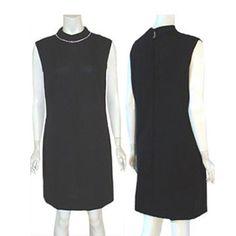 Vintage 60 Black Dress | Rhinestone Collar L #vintageclothing