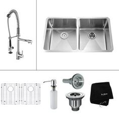 Kraus Kitchen Combo 19-in x 32.75-in Stainless Steel Double-Basin Undermount Kitchen Sink