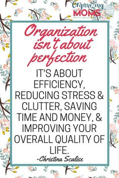 Organization isn't about perfection. It's about efficiency, reducing stress & clutter, saving time & money, and improving your overall quality of life. Organization Quotes, Calendar Organization, Home Organisation, Household Organization, Storage Organization, Organizing Tips, Organising, Decluttering Ideas, Getting Rid Of Clutter