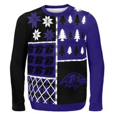 Baltimore Ravens NFL Ugly Sweater Busy Block available at uglyteams.com. Check out uglyteams.com for other merchandise and accessories! #BaltimoreRavens #Baltimore #Ravens