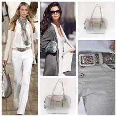 """Repost By @mercedescampuzano: """"¡Hola, soy Tata! Me encanta este bolso plateado para combinarlo con blanco y caqui o blanco y gris. Espectacular para los climas cálidos! Un abrazo con Estilo, Tata REF. BOLSO XIMENA . $124.900  #Tataparamercedescampuzano #mercedescampuzano #fashion #style"""" (via #RapidRepost @AppsKottage)"""