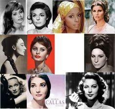 """Kibbe's Original """"Soft Dramatic"""" Archetypes: Sophia Loren, Anne Bancroft, Maria Callas, Raquel Welch, Ava Gardner, Barbara Stresiand, Anita Morris, Jacqueline de Ribes, Diahann Carroll, Marlene Dietrich"""