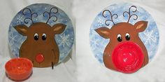 From Gare's Christmas Idea Page.....Rudolph Plate.....with a red bowl as his nose.........Chips and Dips!  BTW you can come by Groovy Gallery in Boaz, AL and paint this. Merry Christmas