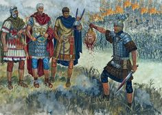 A Roman centurion presents his trophies to his superiors during a battle in the first Dacian war, Trajanic period, 101-102 A.D. - art by Giuseppe Rava