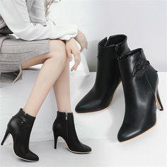 Bankett Damen Spitz Winter Ankle Boot Hoherabsatz Party Kunstleder Stiefel 28-52