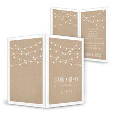 Gestalte jetzt - Lampion Hochzeitseinladung mit Lichterkette ❤ Packpapier Look ❤ Schnell und einfach zu gestalten ❤ Grafik und Produktion im Haus