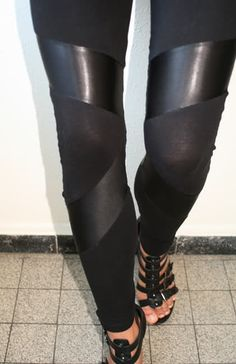 diy cotton and leather leggings