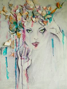 SPECTACULAR Original #Acrylic #MixedMedia #Painting Canvas Pastel Colours Dramatic Womans Face Wings 3D Butterflies birds. Colorful Wall Art on Etsy, $596.37