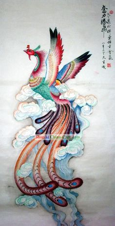 Chinese Traditional Painting with Meticulous Detail-Rising Phoenix Phoenix Painting, Phoenix Art, Phoenix Rising, Japanese Phoenix Tattoo, Phoenix Chinese, Japanese Tattoos, Chinese Painting, Chinese Art, Fantasy Creatures
