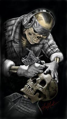 Tattoo skull by pandeart80