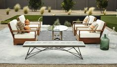 Get inspired by Modern Outdoor Design photo by Boxhill Design. Wayfair lets you find the designer products in the photo and get ideas from thousands of other Modern Outdoor Design photos. Wrought Iron Garden Furniture, Outdoor Garden Furniture, Patio Furniture Sets, Cheap Furniture, Furniture Design, Furniture Websites, Outdoor Seating, Outdoor Spaces, Outdoor Decor