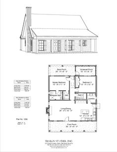 Plan design studio use the height of the gable for the master bdrm. Ide screened porch to middle and access deck from master. Stair where master closet is. 2 Bedroom House Plans, Cottage Floor Plans, Small House Floor Plans, Cabin House Plans, Tiny House Cabin, Cabin Homes, Loft Floor Plans, Small Cottage Plans, Small Cabin Plans