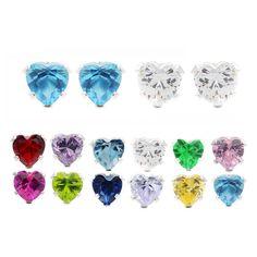 Journee Collection Sterling Silver Cubic Zirconia Heart Stud Earrings (Set of 2) (Dark Pink/ Clear), Women's