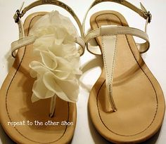 Add flowers to plain sandals.