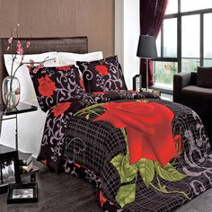 Luxury King/Calking Printed Red Rose Hayden Duvet Cover Set, 300 Thread Count 100 % Cotton fiber reactive prints with matching pillow shams