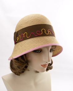 Light Straw Summer Hat with Brown Band, Hand Embroidered. Pink and Yellow Swirls. Hats For Women, Ladies Hats, Green Fur, Fedora Hat Women, Flapper Hat, Hat Blocks, Brown Band, Cloche Hat, Custom Hats