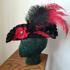 Pirate hat black and red tricorn Rococo Tricorner by Reneesance
