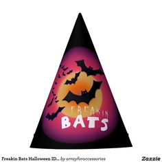 Freakin Bats Halloween ID223 Party Hat.....Whether you're crazy about Halloween or completely batty all year, this paper hat design is for you! A sky full of bats in front of a big gold and pink moon with the text 'Freakin Bats'. Search ID223 to see other products with this design.