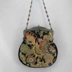 Antique Art Deco Needlepoint Purse Arts and Crafts Floral Design Tapestry Handbag on Etsy, $76.00