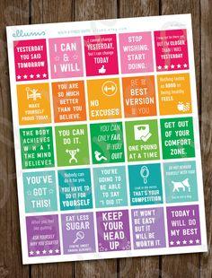 Fitness Planner Stickers PRINTABLE Workout Motivational von ellums