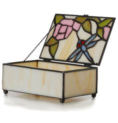 "2.5"" H Stained Glass Dragonfly Keepsake Box"