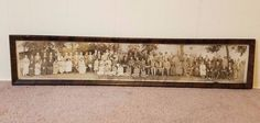 Vtg Antique Panoramic Family Portrait Photo 1928 Tiger Oak Frame Lancaster PA