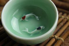 Chinese boutique celadon tea cup fish design handmade craft ceramic coffee cup #Handmade