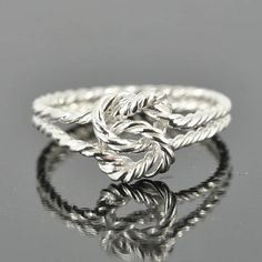 infinity ring, double infinity, twisted rope knot