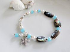 Aqua Crystal Bracelet Abalone Shell Bracelet by Redpeonycreations, $32.00