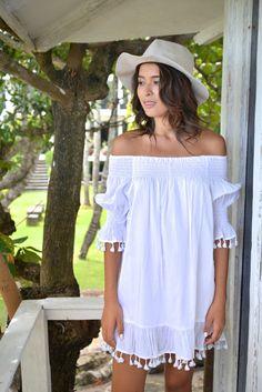 Mimi Summer Dress Boho Kleid weiß Baumwolle Quaste von Piyama