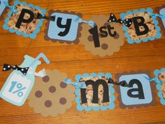 Cookie Monster Milk and Cookies Birthday Banner by JLMpartyshop, $46.00