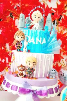 Take a look at this magical Frozen 1 birthday party! The cake is beautiful!! See more party ideas and share yours at CatchMyParty.com  #catchmyparty #partyideas #frozen #frozen2 #frozenparty #frozen2party  #cake#princessparty #girlbirthdayparty Frozen Party Food, Frozen Party Favors, Frozen Party Decorations, Disney Frozen Party, Disney Parties, Frozen Birthday Theme, 2 Birthday Cake, 2nd Birthday Parties, Girl Birthday