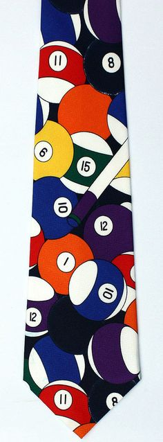 New Cue Balls Mens Necktie Pool Billiards Game Ball Solid Stripe Sports Neck Tie #Brothers #NeckTie