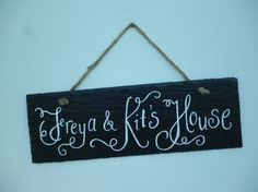 Personalised slate door name plate hand painted by CoveCalligraphy, £17.50