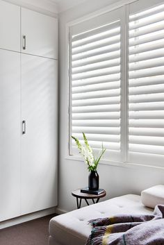 Wooden Shutter In Colour White & Window Furnishing: Shutters & Room: Bedroom Wooden Shutter In Colour White & Window Furnishing: Shutters & Room: Bedroom The post Wooden Shutter In Colour White Interior Window Shutters, White Shutters, Doors Interior, Interior And Exterior Angles, Bathroom Interior Design, Home, House Window Design, White Windows, Curtains With Blinds